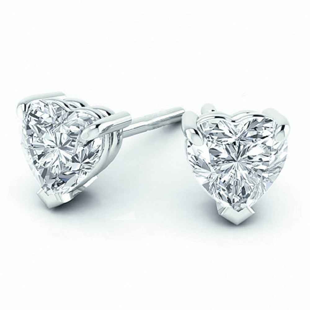 heart in four shaped gold angle with settings your p shape stud prongs design own white diamond jewelry earrings